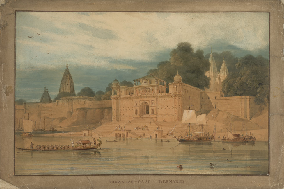 Shivala Ghat, Benares (U.P.), with the Daniells' budgerow and a morpunkhi on the river. Original sketch taken 17 or 22 November 1789.